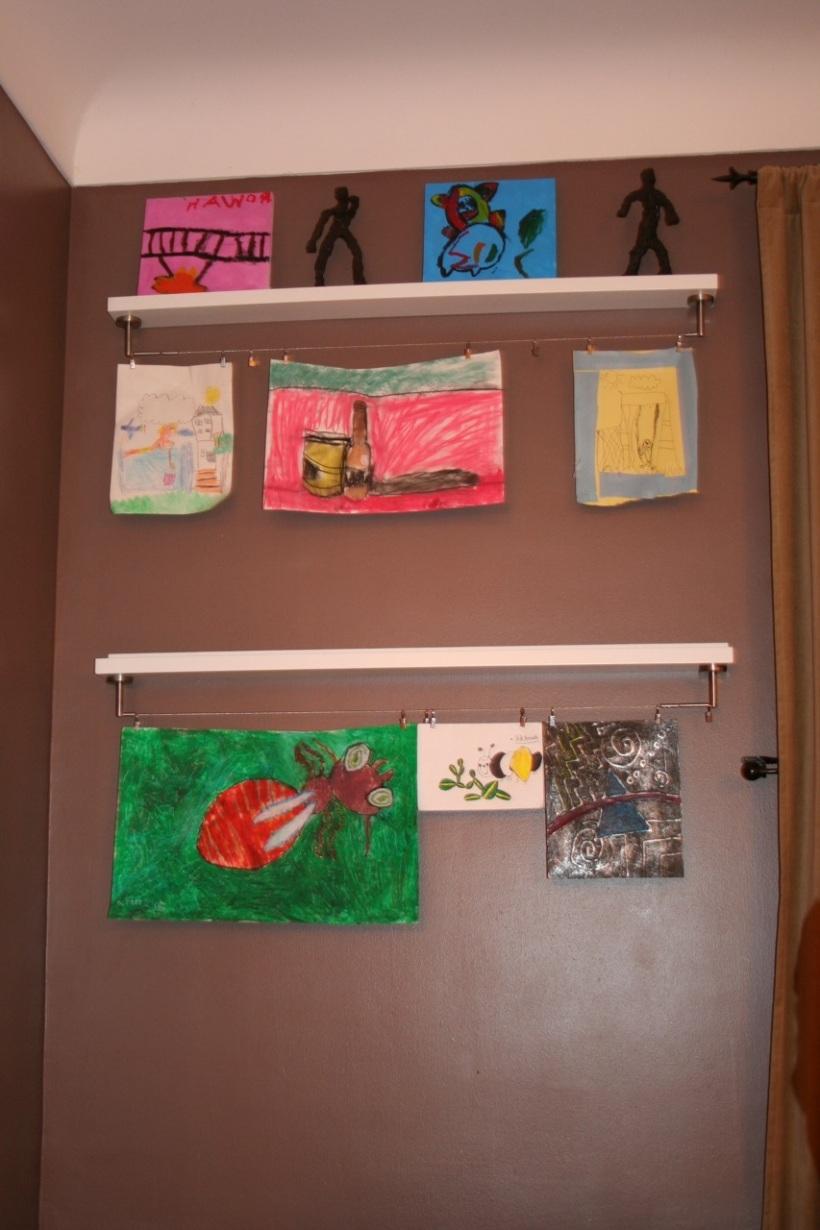 Ikea hack: kids' art display shelf