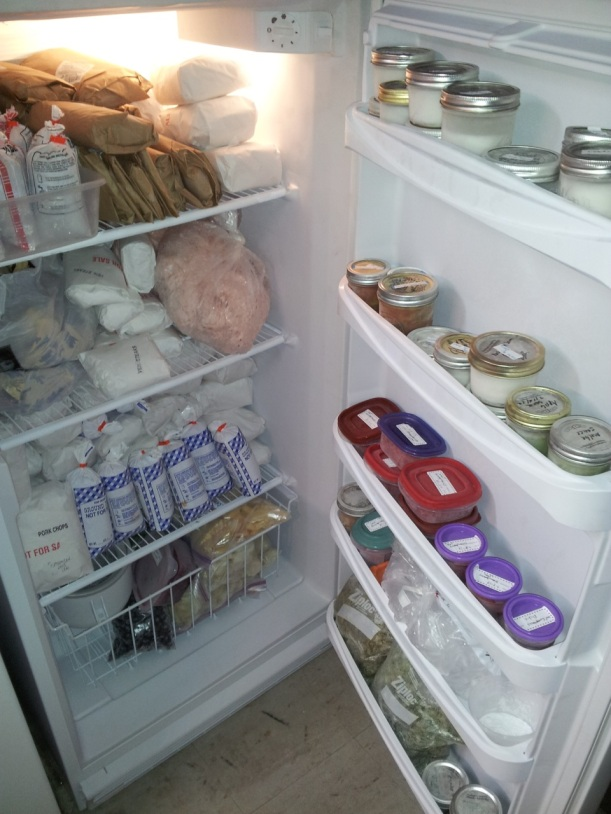 A freezer full of food for the winter, via The New Home Economics