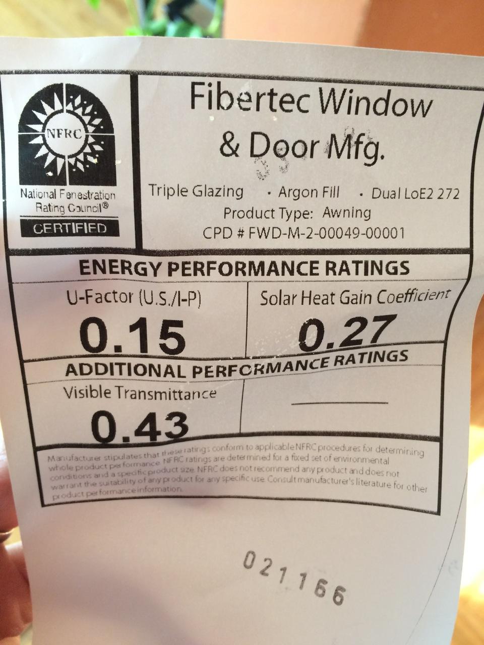 Fibertec energy ratings