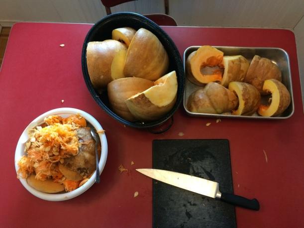Pumpkins ready to bake