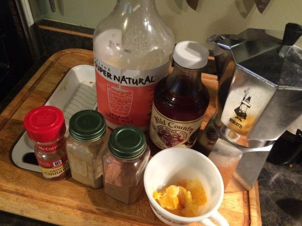 Ingredients for pumpkin spice latte, via The New Home Economics