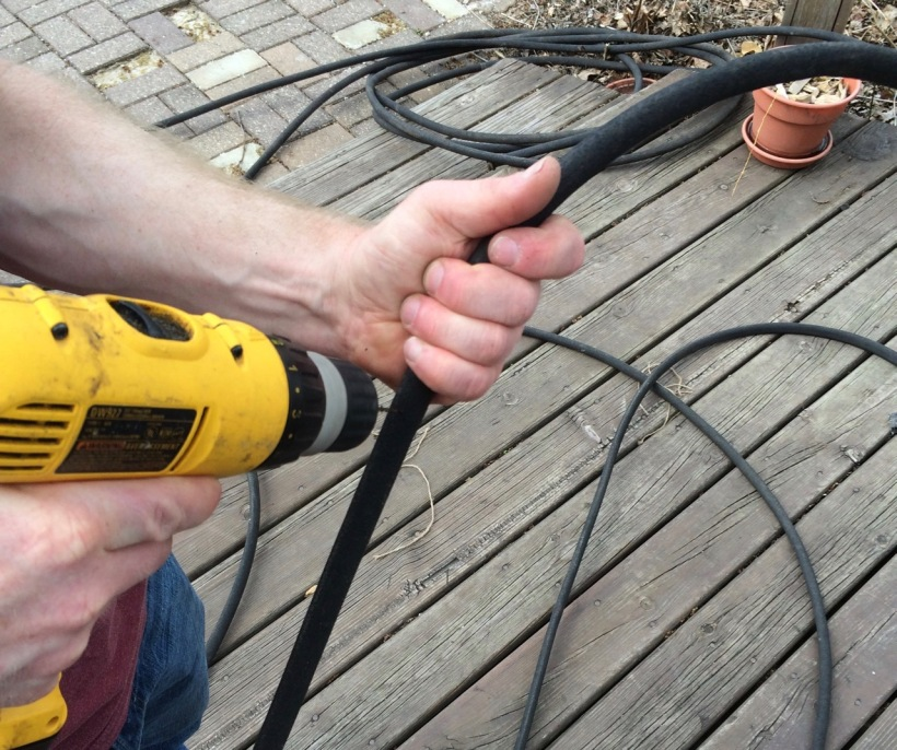 Drilling holes in soaker hose