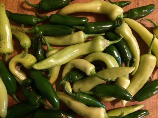Banana and jalapeno peppers, via The New Home Economics