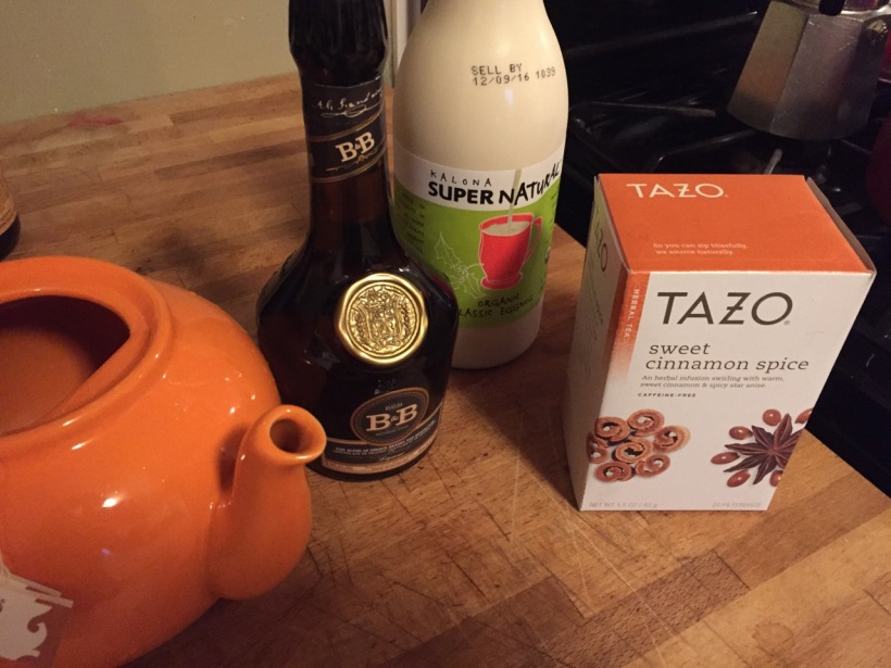 Ingredients for Nog Hot Toddy, via New Home Economics
